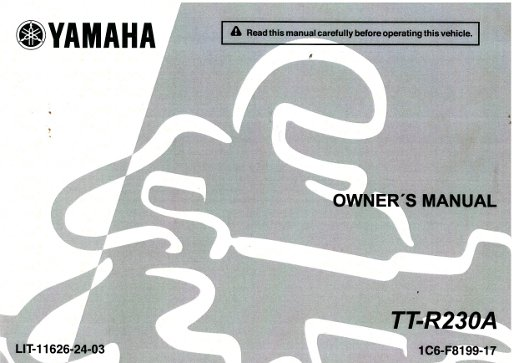 2011 Yamaha Ttr230 Motorcycle Owners Manual