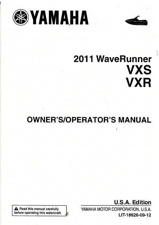 2011 Yamaha WaveRunner VXR And VXS Owners Manual