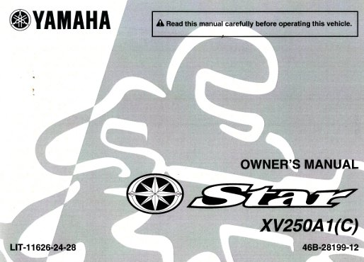 2011 yamaha xv250 v star motorcycle owners manual rh repairmanual com yamaha v star 250 owners manual pdf yamaha v star 250 owners manual 2009