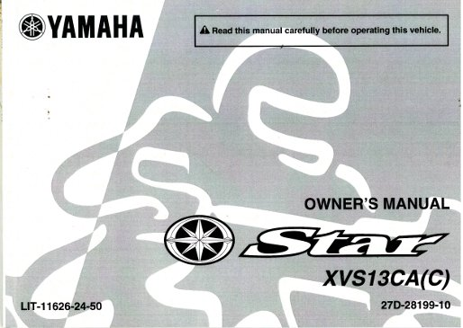 Yamaha Stryker Owners Manual