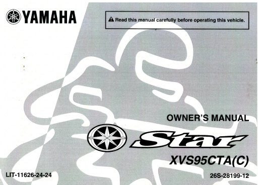 Official 2011 Yamaha XVS950 V-Star Factory Owners Manual