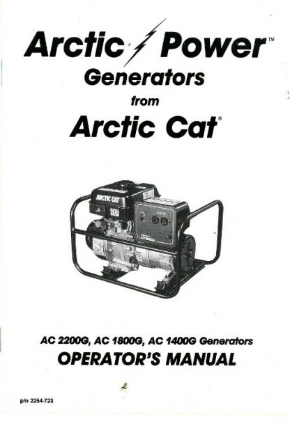 Official Arctic Cat 1400G 1800G 2200GD Generator Owners Manual