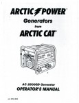 Official Arctic Cat 2500GD Generator Owners Manual