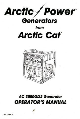 Official Arctic Cat 3000GD2 Generator Owners Manual