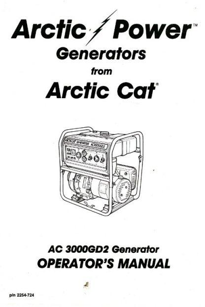 Official Arctic Cat 3000GD2 Generator Owners Manual
