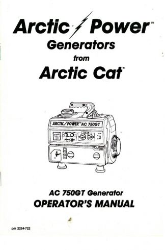 Official Arctic Cat 750GT Generator Owners Manual