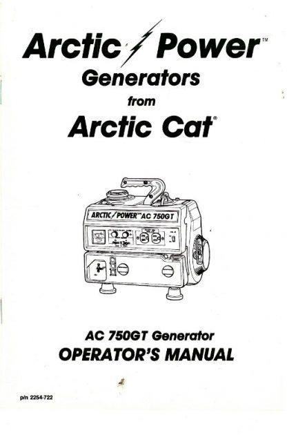 Official Arctic Cat 750GT Generator Owners Manual