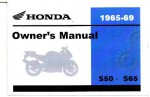 Official Honda 1965-1969 S50 S65 SPORT 65 Factory Owners Manual