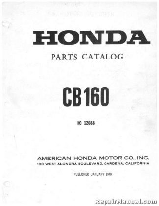 Official 1965-1969 Honda CB160 Motorcycle Parts Manual