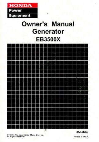 Official Honda EB3500X Generator Serial Range EA6-3104278 To EA6-3123017 Owners Manual