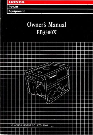 Official Honda EB3500X Serial Range EB3500X EA6-3123018 And Up Generator Owners Manual
