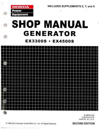 Official Honda EX3300S And EX4500S Generator Shop Manual
