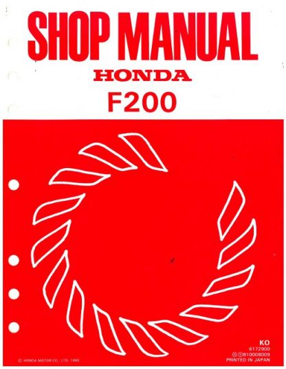 Official Honda F200 Tiller Shop Manual