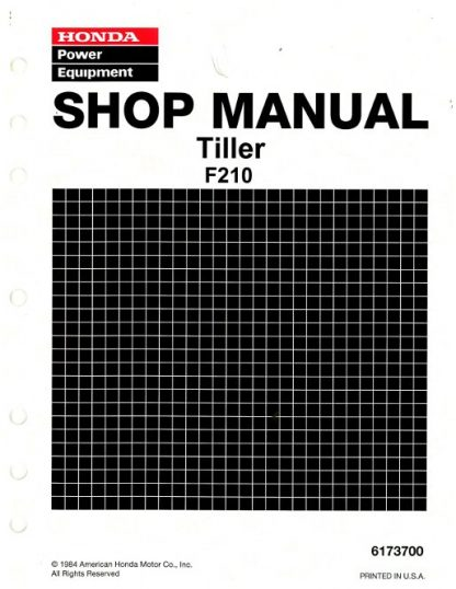 Official Honda F210 Tiller Shop Manual