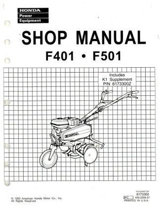 Official Honda F401 And F501 Tiller Shop Manual