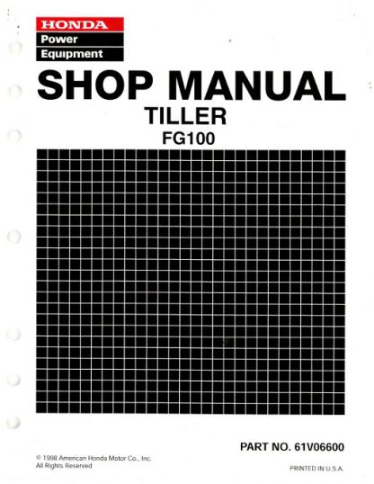 Official Honda FG100 Tiller Shop Manual