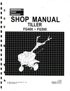 Official Honda FG400 And FG500 Tiller Shop Manual