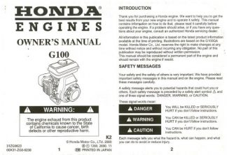 Official Honda G100 Engine Owners Manual