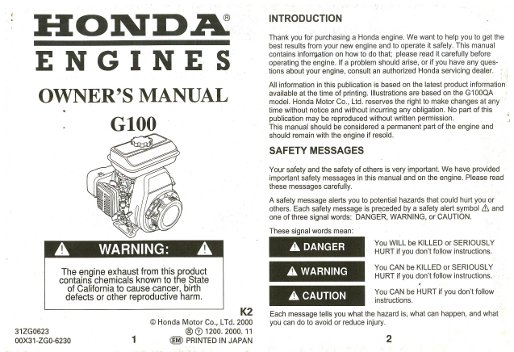 Honda G100 Engine Owners Manual
