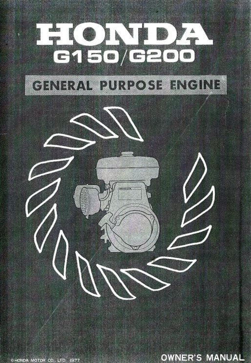 Honda Small Engine >> Honda G150 G200 Engine Owners Manual