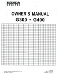 Official Honda G300 G400 Manual Start Engine Owners Manual