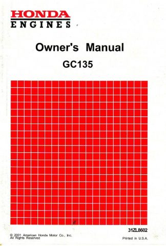Official Honda GC135 Engine Owners Manual