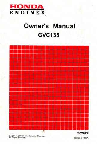 Official Honda GCV135 Engine Owners Manual