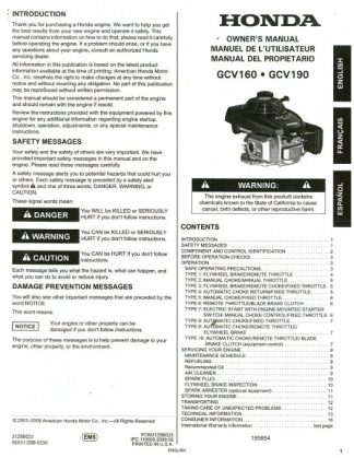 Official Honda GC160 GC190 Engine Owners Manual