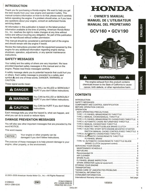 honda gc gc engine owners manual