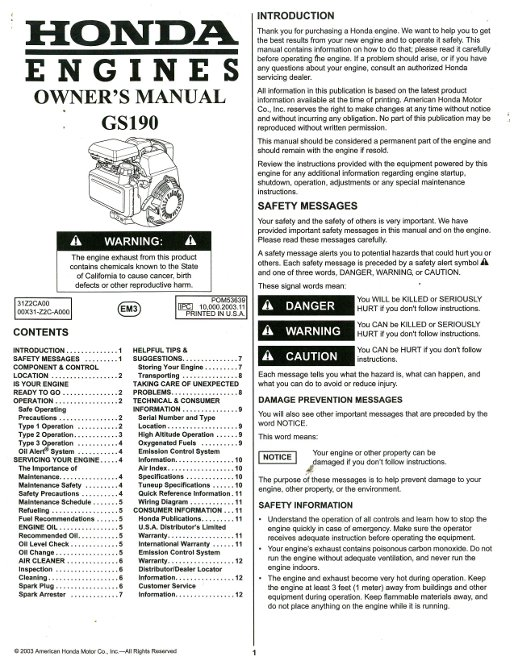 honda gs engine owners manual