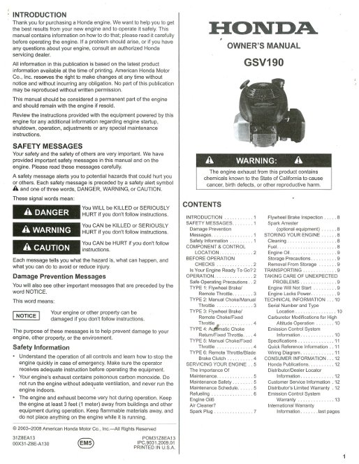 honda gsv190 engine owners manual honda gx22 repair manual gx22 honda 4 stroke manual