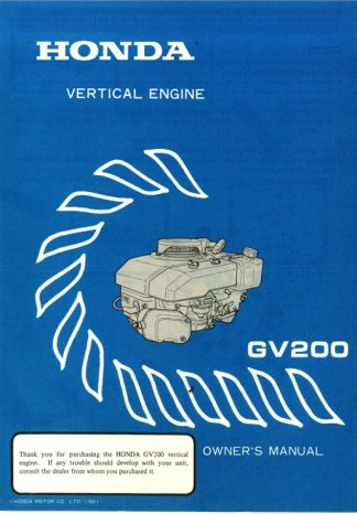 Official Honda GV200 Engine Owners Manual