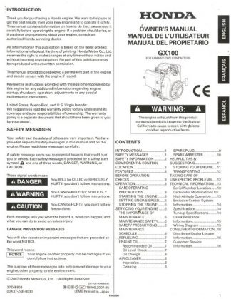 Official Honda GX100 Rammer Engine Owners Manual