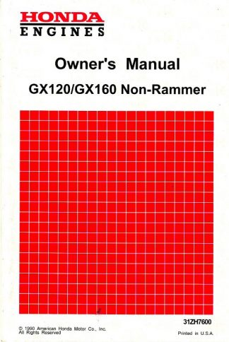 Official Honda GX120 NON-RAMMER GX160 NON-RAMMER Engine Owners Manual
