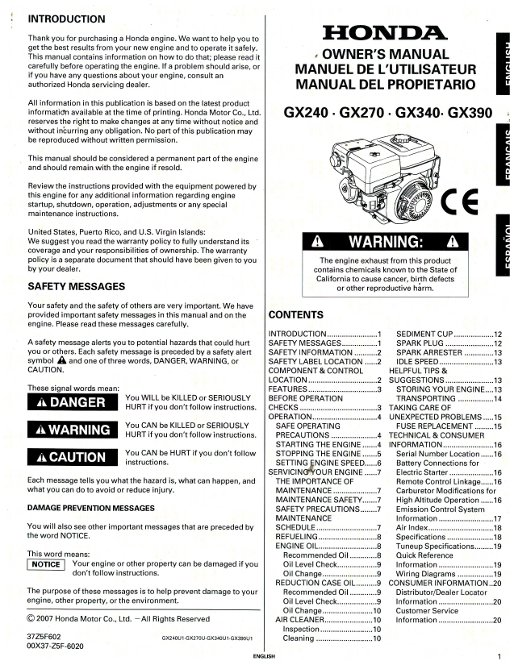 honda gx390 shop manual pdf