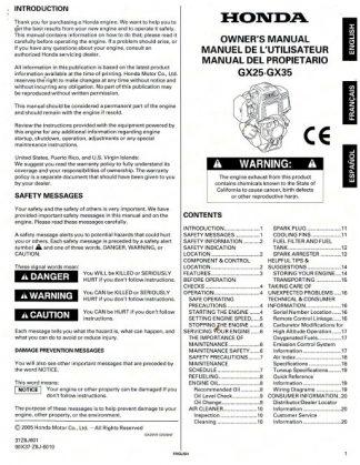 Official Honda GX25 GX35 Engine Owners Manual