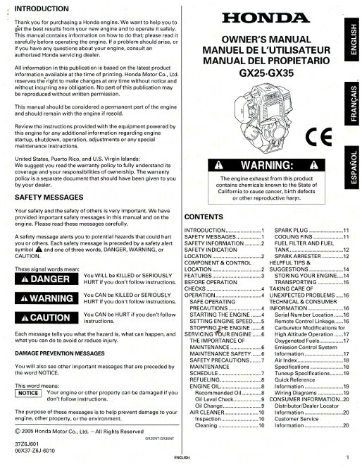 Honda Gx25 Gx35 Engine Owners Manual
