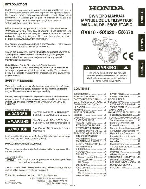 Honda gx670 engine service manual