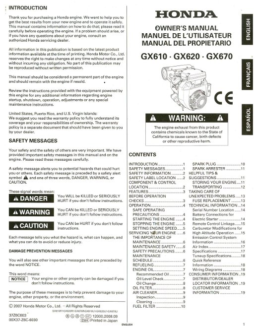 honda gx610 gx620 gx670 engine owners manual rh repairmanual com Landa Pghw GX670 Honda Engine Honda GX670 Engine 610 Bobcat