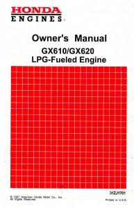 Honda GX610 GX620 LPG Fueled Engine Owners Manual