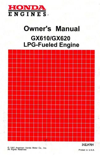 Official Honda GX610 GX620 LPG Fueled Engine Owners Manual