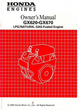 Official Honda GX620 And GX670 Dual Fuel Engine Owners Manual