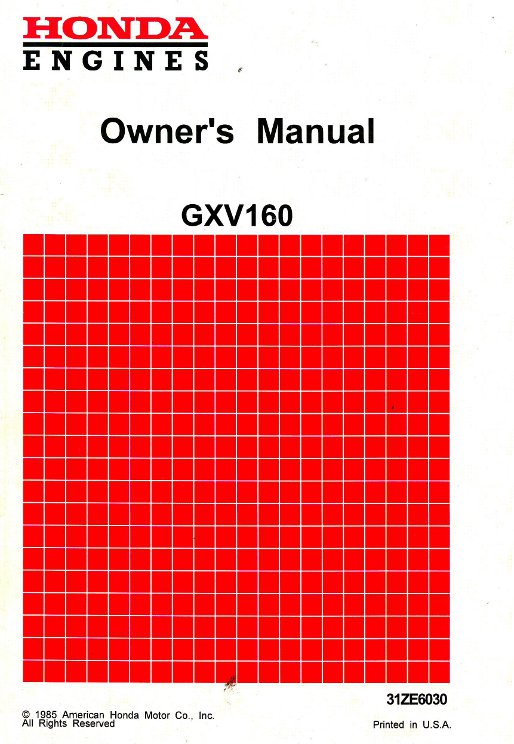 honda gxv120 gxv160 engine owners manual rh repairmanual com Honda Gxv530 Honda GXV140