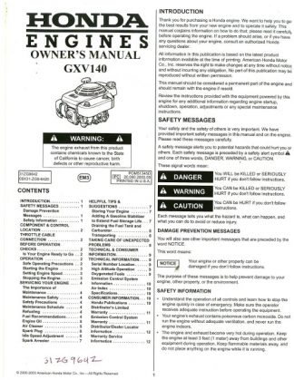 Official Honda GXV140 Engine Owners Manual