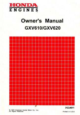 Official Honda GXV610 GXV620 Engine Owners Manual