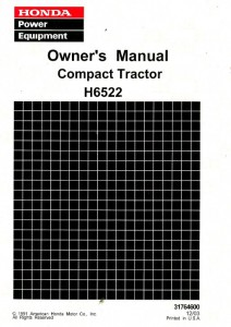 Honda H6522 Compact Tractor Owners Manual 1