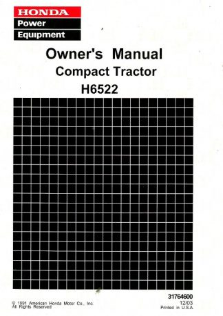 Official Honda H6522 Compact Tractor Owners Manual