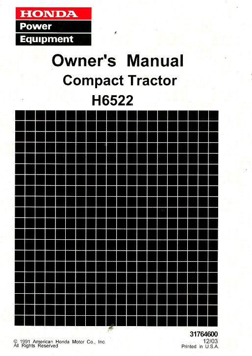 Honda H6522 Compact Tractor Owners Manual