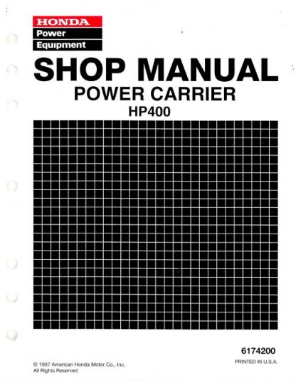 Official Honda HP400 Power Carrier Shop Manual