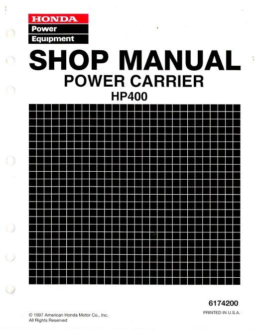 honda hp400 power carrier shop manual rh repairmanual com HP 602 Printer honda hp 400 manual
